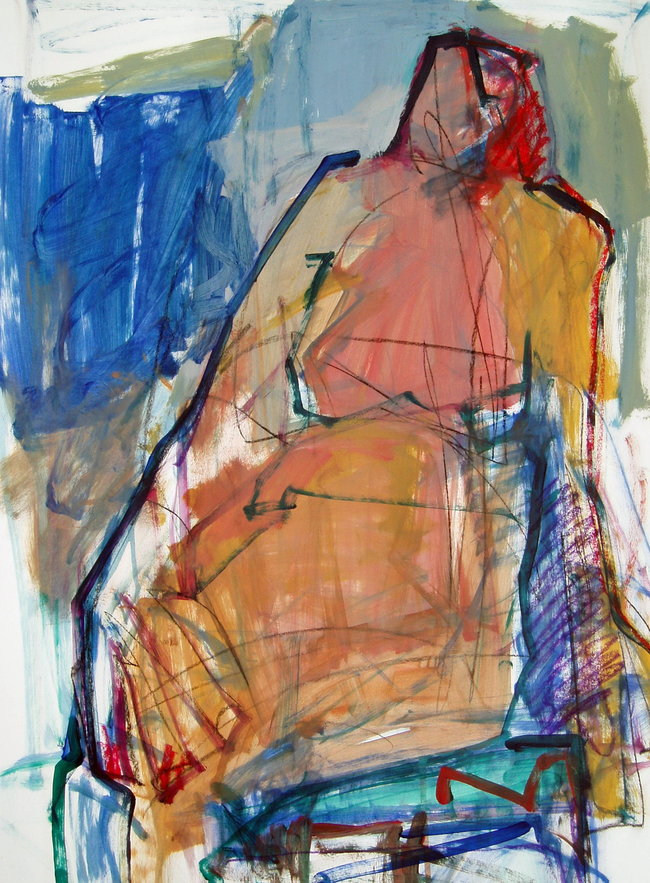 Figure in Line - 30x22 - mixed media on paper