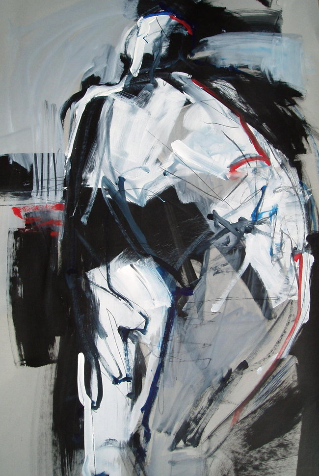 Figure on Gray II - 40x25 - mixed media on paper