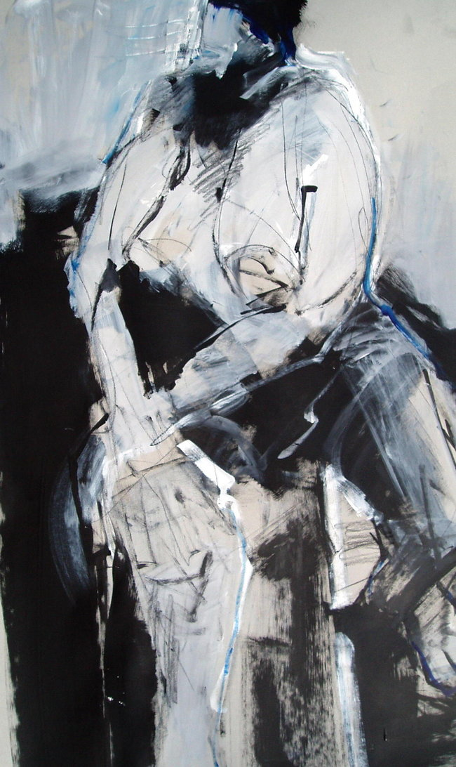 Figure on Gray IV - 40x25 - mixed media on paper