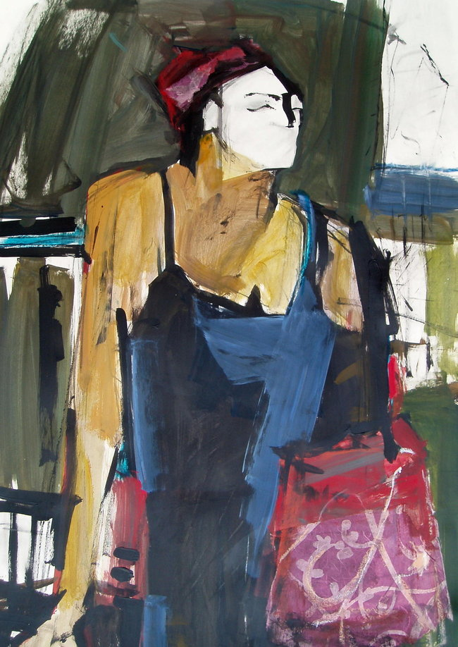 Woman with Purse - 32x22 - mixed media on board